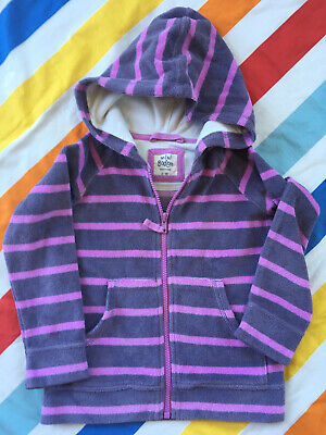 Mini Boden Towelling Zip Up - Purple Stripe - Age 3 to 4 years