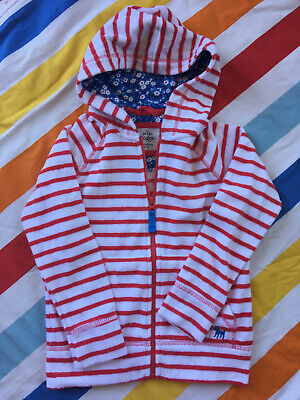 Mini Boden Zip Up Towelling Hoody - Age 6 to 7 years - Red White Stripe