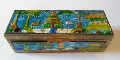 Vintage Metal Copper and Blue Enamel Ware Hinged Small Jewelry Pill Coin Box