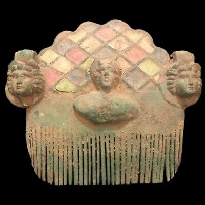 Ancient Roman Bronze Huge Enamelled Hair Comb With Three Statues - 200-400 Ad