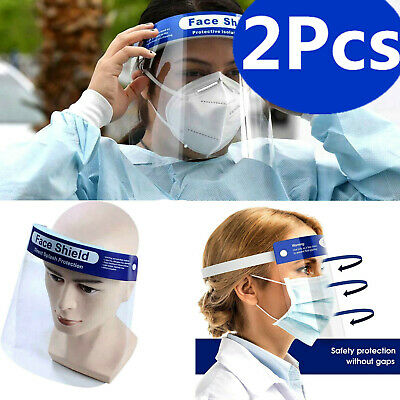 2Pcs Safety Full Face Shield Guard Protector Clear Head Band Elastic Reusable