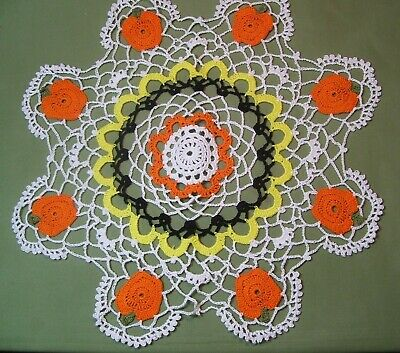 New Hand Crocheted Halloween/Fall Doily w/8 Pumpkins 15 inches