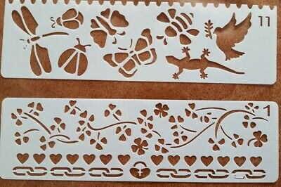 2 X Craft Stencil Templates ~ Reusable ~ Animals Insects Flowers Hearts ~ New
