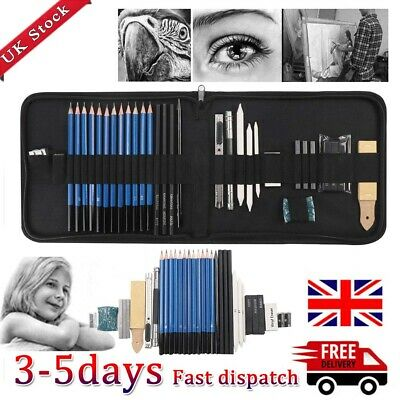 32pcs Sketching Drawing Set Art Pencil Kit Graphite Charcoal Artists!