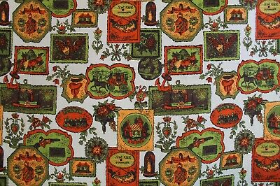 "VTG 1960-70s Retro Colonial Print Fabric Upholstery Curtains Pillows 48""x 152"""