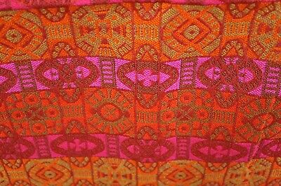 "VTG 1960-70s MCM Bright Tribal Mod Upholstery Curtain Fabric 54""x 50"""