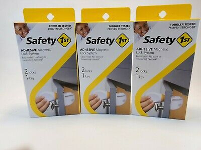 Lot Of 3 Safety 1st Adhesive Magnetic Lock System with 2 Locks and 1 Key