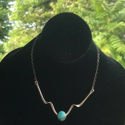 Necklaces Turquoise Vintage Sterling Silver Oval Stone Women's Link Signed Bt