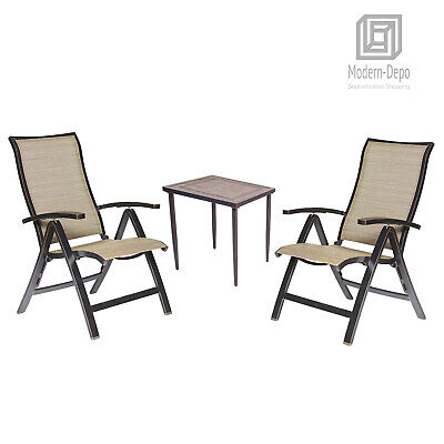 Outdoor 3 Piece Conversation Set of Folding Chairs and Patio Chat Table