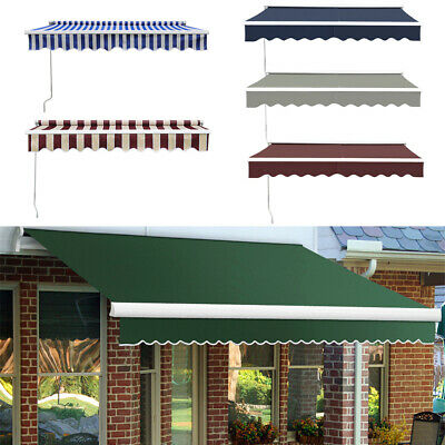 Manual Retractable Patio Awning Garden Sunshade Outdoor Canopy Shelter TopFabric