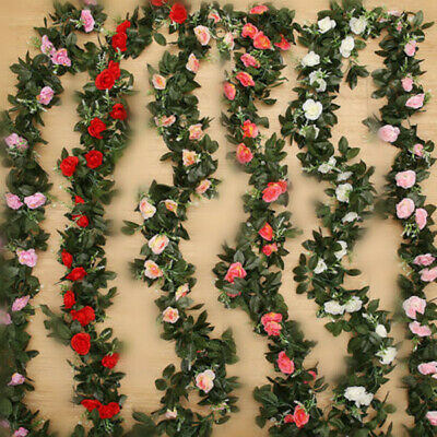 2x 8Ft Artificial Rose Garland Silk Flower Vine Ivy Wedding Garden Home Decor
