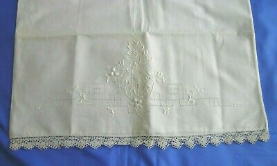 Vintage/Antique White Pillow Case Lace & White Embroidery