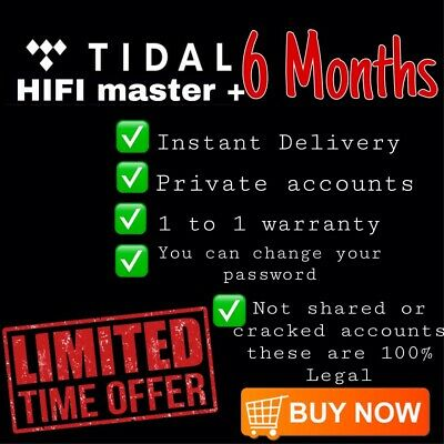 Tidal HiFi- Masters Quality 6 Months Personal Accounts | 180 Days Guranteed✅✅