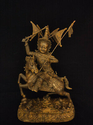 Chinese Tibetan Antique Qing Dynasty Gilt Lacquered Bronze Figure with Horse