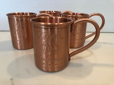 Tito's Handmade Vodka Moscow Mule Copper Mugs Set Of 4......New!!!!!
