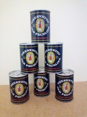 Group of 6 sealed Empty cans of Theakstons Old Perculier Ale