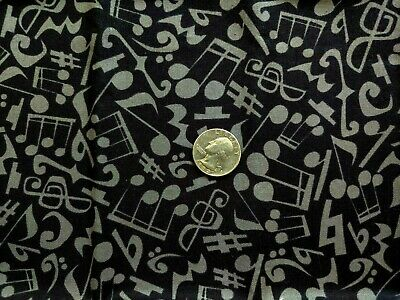 Jazz Jam Fabric Music Notes on Black OOP Quilt Shop Quality Cotton