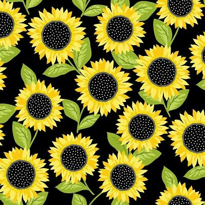 Sunny Bee Fabric #9431-K Sunflowers on Black Quilt Shop Quality Cotton