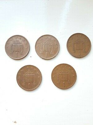 Set of 5 rare 1971 new penny coins from year of decimalisation almost 50 yrs old