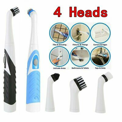 Sonic Scrubber Electric Cleaning Brush Ultrasonic Dust Cleaner W// 4 Heads Tool*