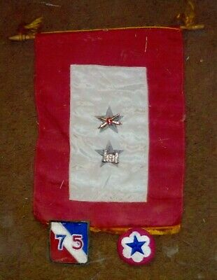 Amazing WWII Cloth 2 Blue Star Window Banner with Patches & Medals of Both Army