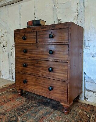 Victorian Mahogany Chest Of Drawers, Antique