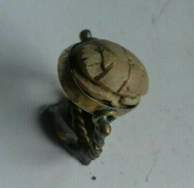Ancient Egyptian  Scarab Bead In A Gilded Swivel Ring Vi Century B.c.