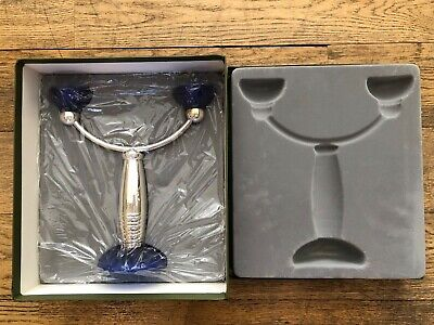 Christofle Candelabra Silver and Blue Glass