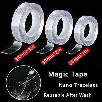 1M Nano Magic Tape Double Sided Traceless Washable Adhesive Invisible Reusable