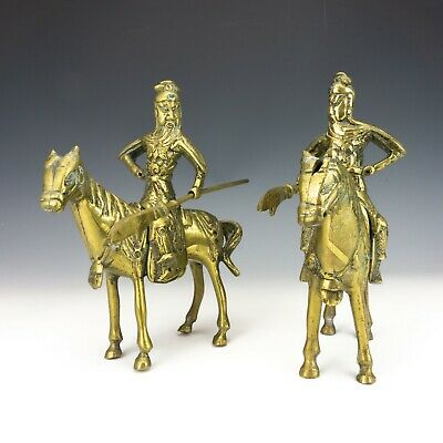 Vintage Pair Of Chinese Brass - Oriental Warrior Figures - Lovely!