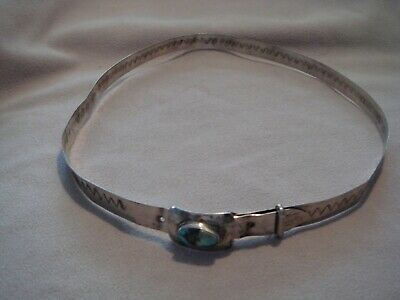 VINTAGE ALL STERLING SILVER NARROW BELT WITH TURQUOISE  BUCKLE 1.1 oz C T  MARK
