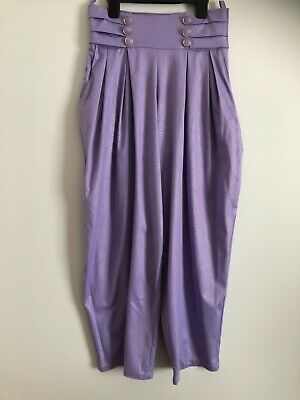 """Vintage 1980's Lilac Mock Ostritch Skin Wet Look """"Baggy"""" Retro Trousers Size 14"""