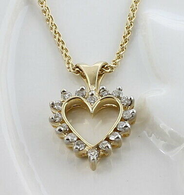 Ladies 14K Solid Yellow Gold Diamond Heart Pendant & Chain
