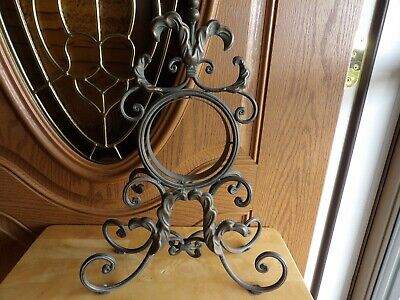 "Antique Vintage Clock Holder Ornate Brass or Cast Iron (no clock) 17 1/2"" tall"