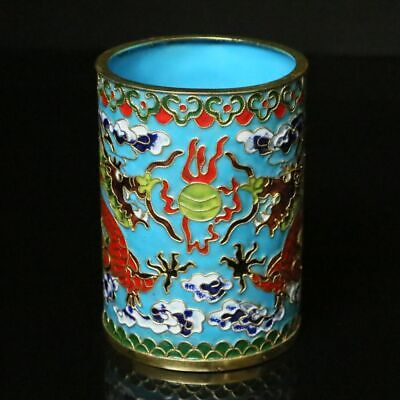 Chinese  Exquisite Handmade Drawn Copper Cloisonne Enamel Dragon Brush Pots