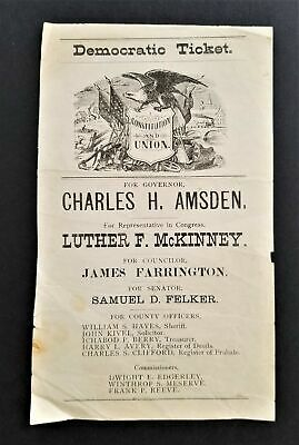 1890 antique POLITICAL DEMOCRATIC campaign Nh TICKET Chas AMSDEN governor