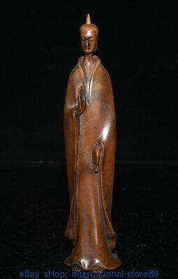"""8.4"""" Old Chinese Boxwood Hand-carved Palace Beautiful Woman Artist Sculpture"""