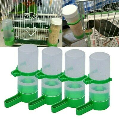 4PCS Plastic Pet Bird Drinker Feeder Water Bottle Cup For Cage Budgie Birds M/L