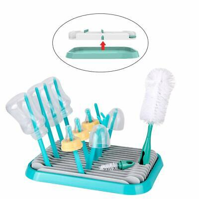 Baby bottle drying rack shelf baby countertop dryer cleaning drainer with brush