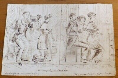 Antique Old Original Pen and Ink Caricature, Cartoon