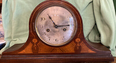 Large Antique Napoleon Hat Chiming Mantel Clock In Inlaid Woods Working