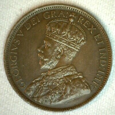 1918 Canada Bronze Large Cent Coin 1c Canadian Penny AU Almost Uncirculated