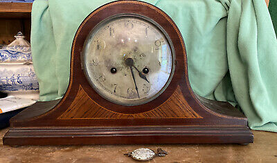 LARGE ANTIQUE NAPOLEON HAT MANTEL CLOCK IN INLAID WOODS FOR PARTS Marked KK