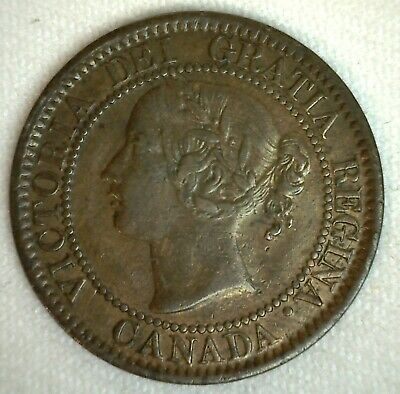 1859 Canada Large Cent Bronze Coin Extra Fine