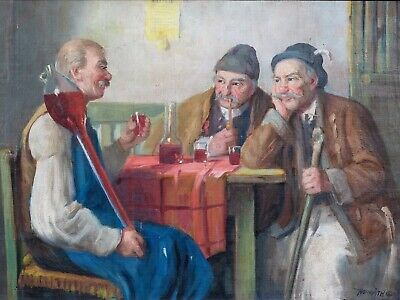 Large 19th Century Hungarian Villagers Drinking A Yard Of Red Wine by A HORVATH