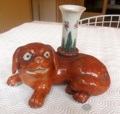 Antique Chinese Recumbent Pug Dog Incense Holder 4.75In Height
