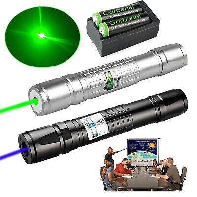 Tactical Green&Blue Laser Pointer Pen Visible Beam Zoomable Lazer 18650&Charger