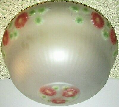 """Antique Satin Glass Ceiling Light Fixture Lamp Shade Reverse Painted 10"""" Fitter"""