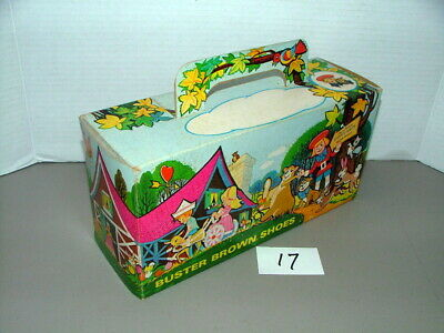 1950s BUSTER BROWN EMPTY SHOE BOX w LITTLE BROWN HOUSE IN THE WOODS LOT#17