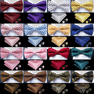 Mens Silk Self Bow Tie Paisley Plaids Striped Bowtie Handkerchief Cufflinks Set